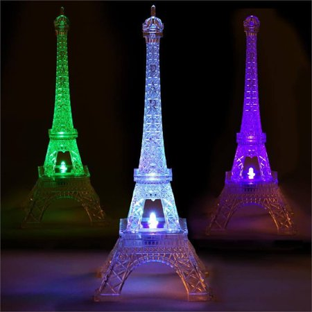 BalsaCircle 10 inch Clear Acrylic Eiffel Tower Centerpiece with LED Light - Wedding Party Home Favor Gift Decorations Supplies - Eiffel Tower Party Decorations