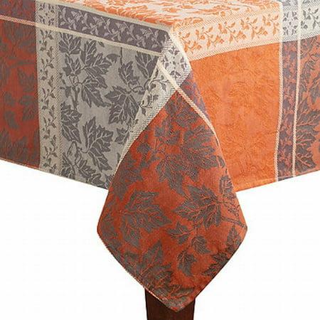 60x84 Fabric Tablecloth - Montvale Orange & Gray Windowpane Plaid Fabric Tablecloth Table Cloth 60x84 Ob