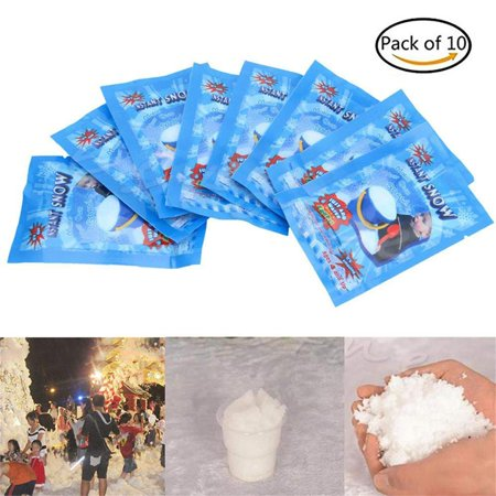 9g Magic Instant Fake Fluffy Snow Powder for Cloud slime,DIY snow cans quickly generate snowflakes without melting Slime making kit,Christmas Wedding Decoration- Looks and Feels Like Real Snow (10pcs)