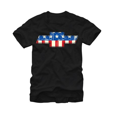 General Motors Chevrolet Bowtie American Flag Mens Graphic T Shirt