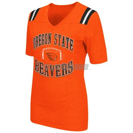 Oregon State Beavers Womens Artistic Football T Shirt  Orange
