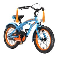 BIKESTAR? Original Premium Safety Sport Kids Bike Bicycle with sidestand and accessories for age 4 year old children | 16 Inch Cruiser Edition for girls/boys | Champion Blue