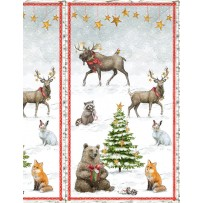 """Clearance Sale~Friendly Gathering Panel 23"""" x 44"""" Christmas Cotton Fabric by Wilmington Prints"""