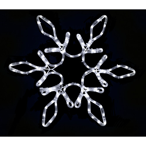 Queens of Christmas 24'' Rope Lit Snowflake with Star Middle Christmas Decoration