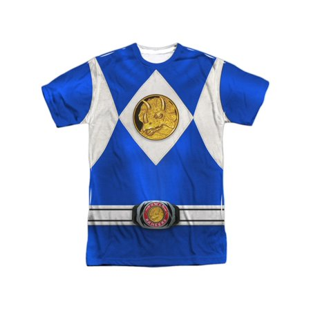 Mighty Morphin Power Rangers Blue Ranger Costume Billy F/B Adult 2Side Print Tee