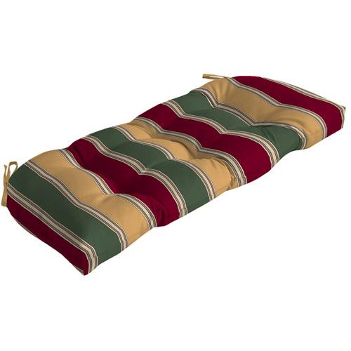 Mainstays Outdoor Wicker Settee Cushion, Red/Green/Tan Stripe