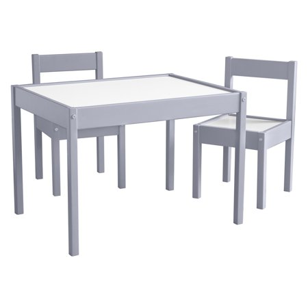 3pc Kids Tahoe Kiddy Table and Chair Set Gray/White - Baby Relax