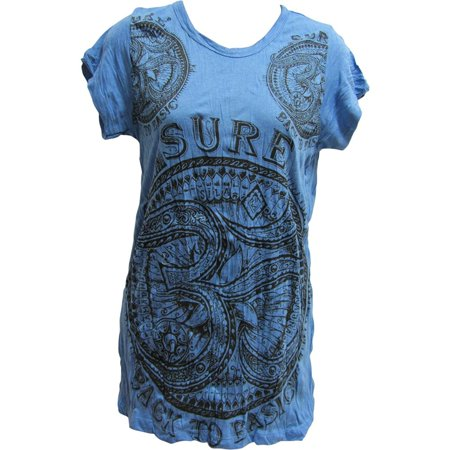 Sure Hippie Yoga Om Crinkled Cotton Short-Sleeve T-Shirt Blouse No165 Cotton Hippie Shirt