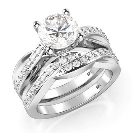 Sz 7 Sterling Silver 925 Round Brilliant Cut Cubic Zirconia CZ Engagement Ring Set ()