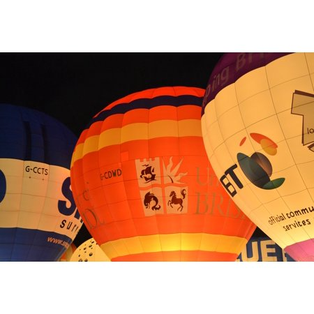 Hot Air Balloons Flying Bristol Balloon Uk Night Poster Print 24 x 36](Halloween Night In Bristol)