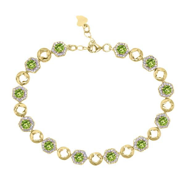 6.41 Ct Round Green Peridot 18K Yellow Gold Plated Silver Bracelet by