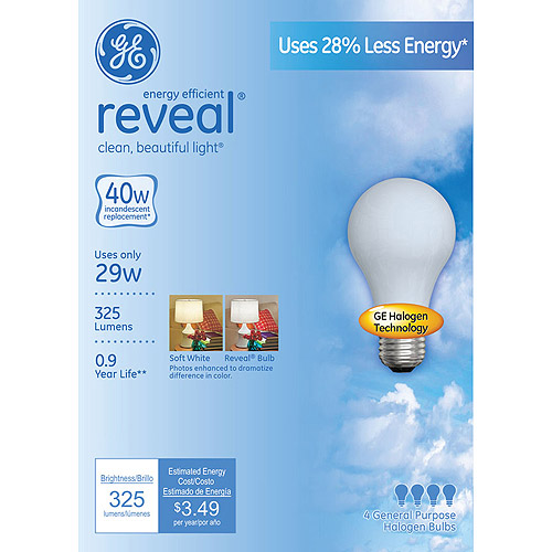 GE29W Energy-Efficient Reveal Frost Bulb, 4-Pack, 40W Equivalent