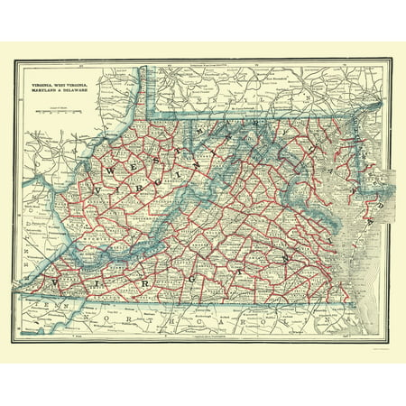 Old State Map Virginia West Virginia Maryland Delaware 1893