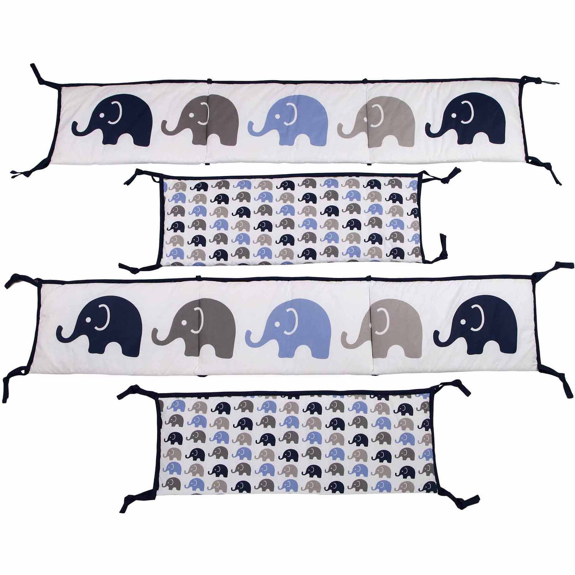 Bacati Elephants Bumper Pad, Blue/Gray