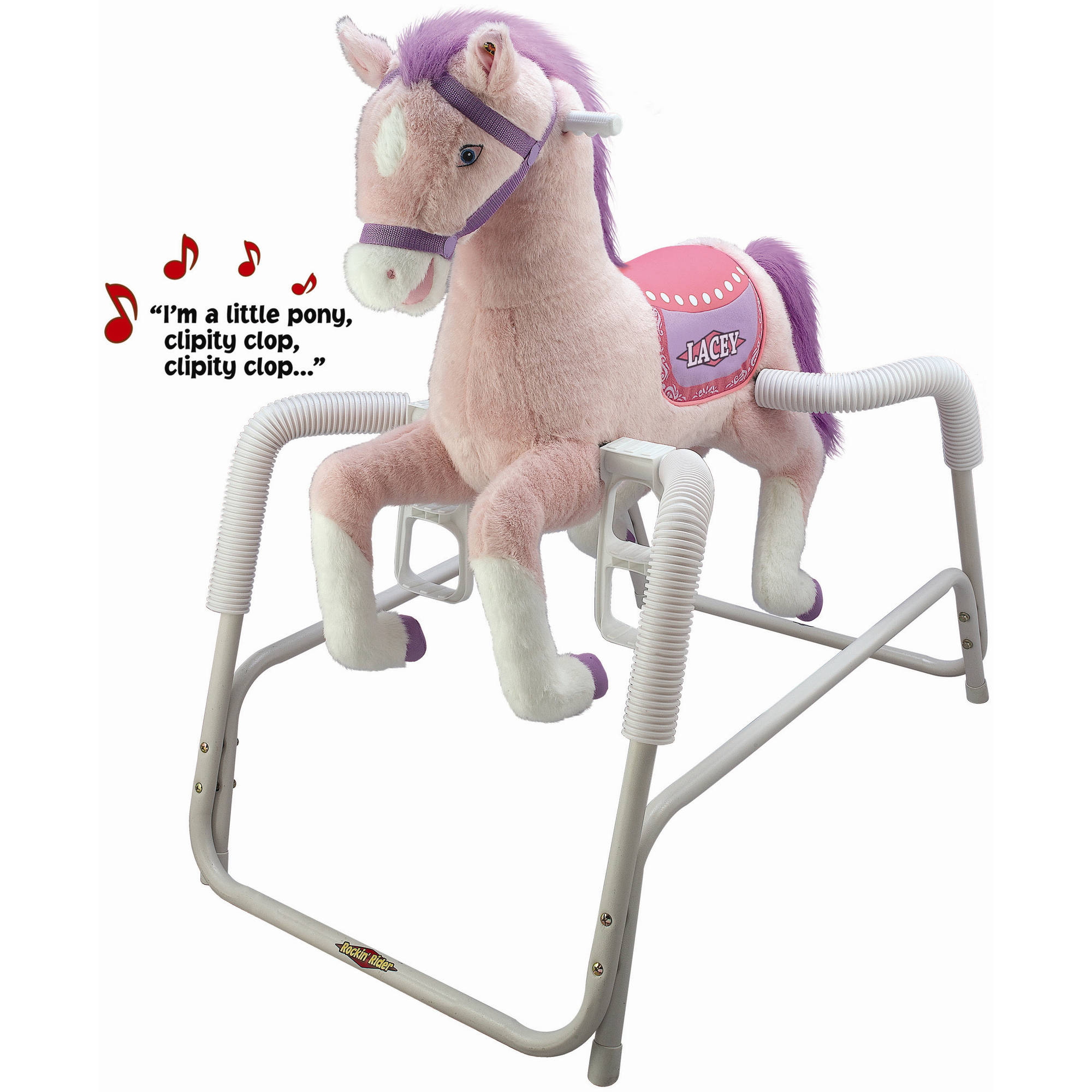 Rockin\' Rider Lacey Deluxe Talking Plush Pink Spring Horse, Animated ...