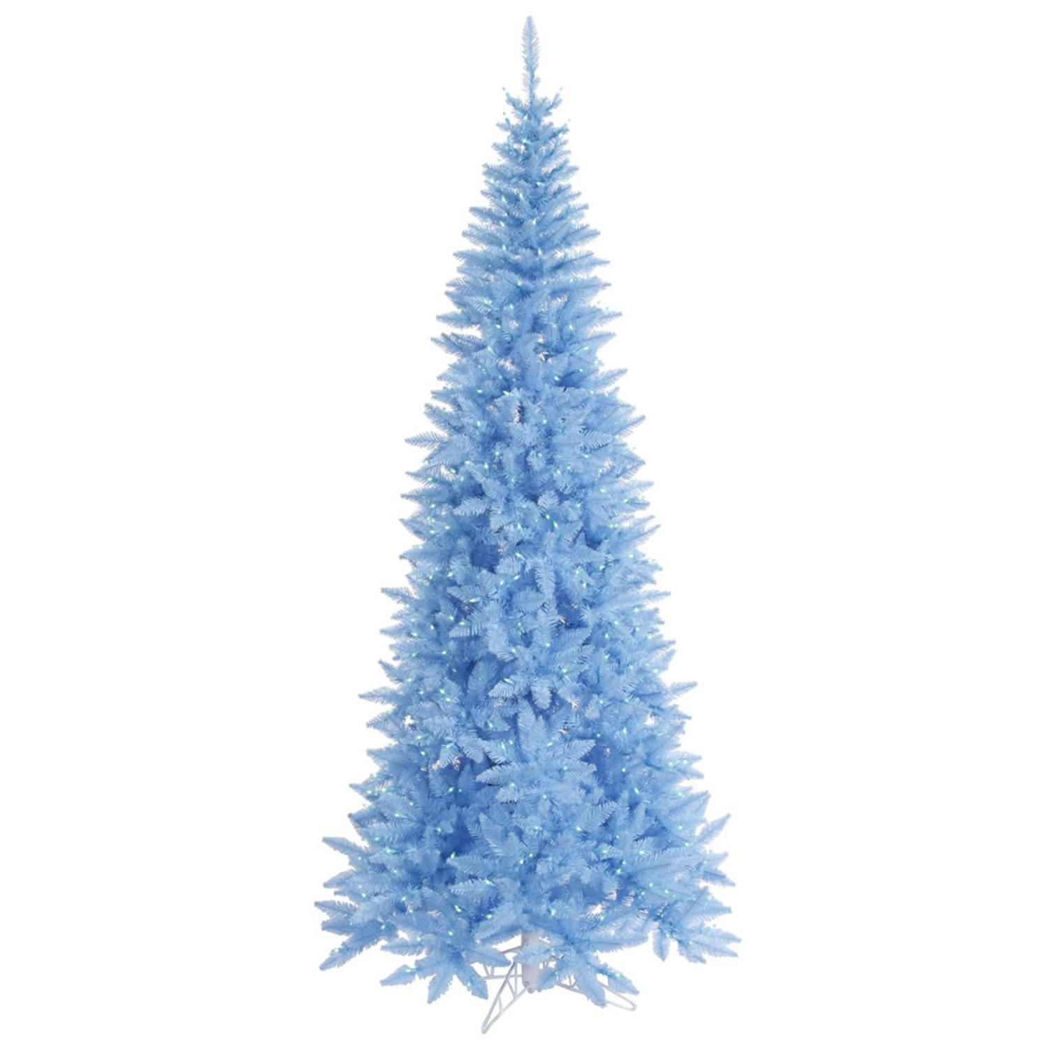 9' Pre-Lit Sky Blue Fir Slim Artificial Christmas Tree - Blue Lights