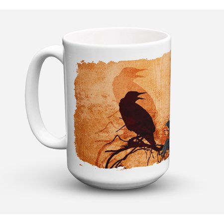 Beware of the Black Crows Halloween Dishwasher Safe Microwavable Ceramic Coffee Mug 15 ounce SB3009CM15 - Safe Space Yale Halloween