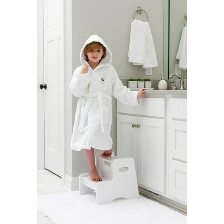60364df9f3 Linum Home Sweet Kids Turkish Cotton Terry White with Black Script Monogram Hooded  Bathrobe - Walmart.com