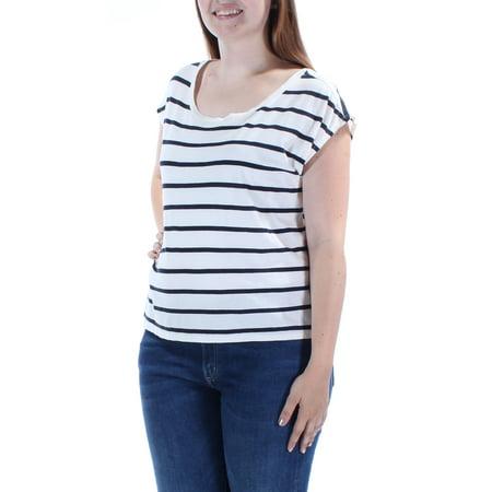 RALPH LAUREN D & S Womens Ivory Striped Sleeveless Jewel Neck T-Shirt Top  Size: L