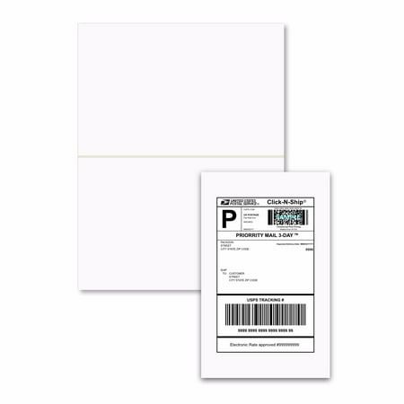 PACKZON Shipping Labels with Self Adhesive, Square Corner, For Laser & Inkjet Printers, 5.5 x 8.5 Inches, White Matte, Pack of 2000 Labels