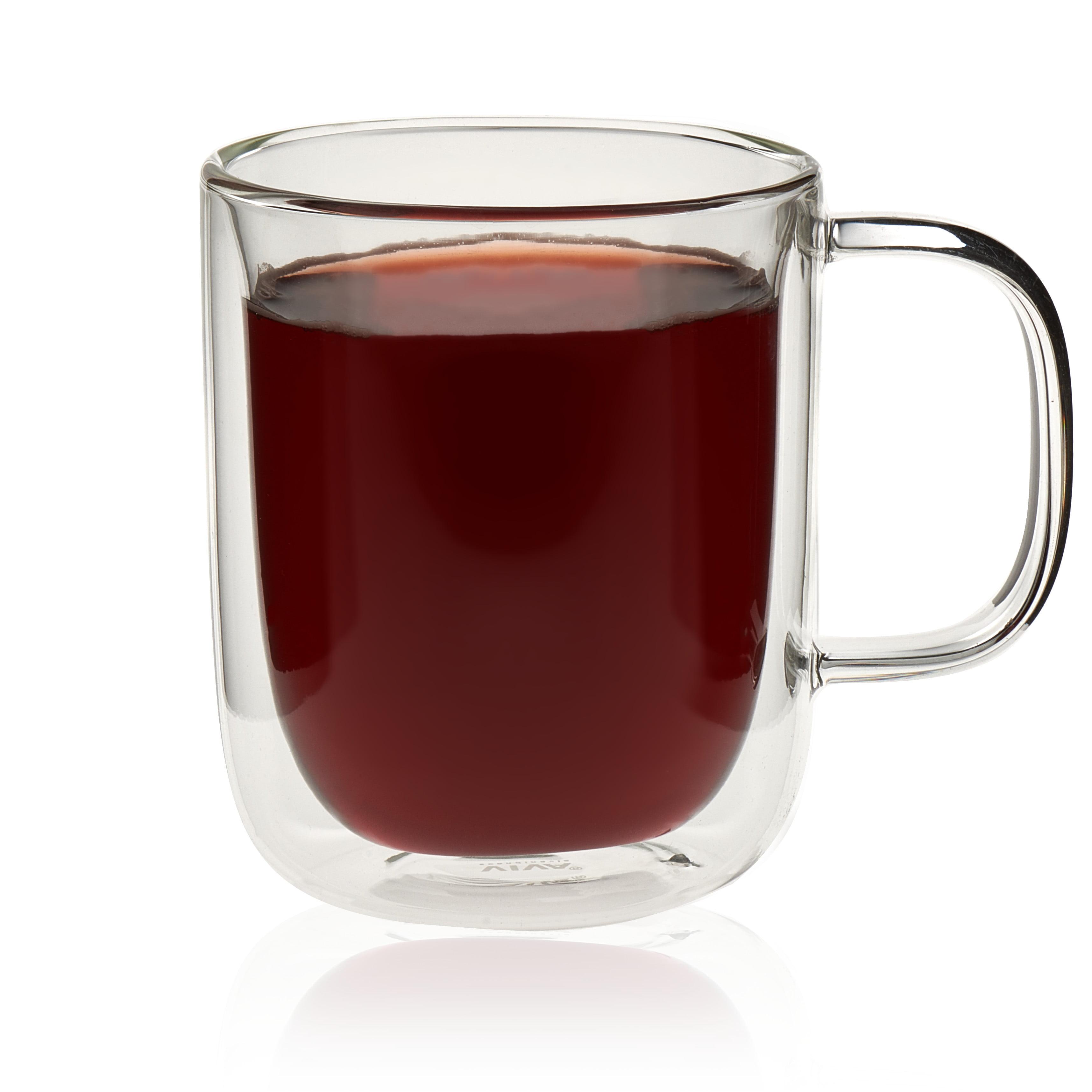 VIVA Scandinavia Classic Double Walled Glass with Handle Set, 12.5-ounce Handled Tea Glasses, Borosilicate (Set of 4)