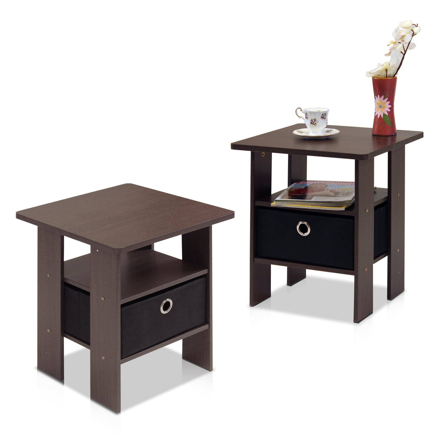 Furinno Petite End Table Bedroom Night Stand, Set of 2, Multiple ...