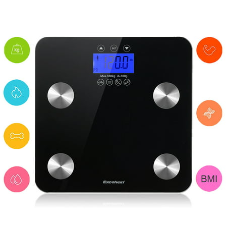 Excelvan Touch 400 lb Digital Body Fat Scale Body Weight,BMI,Fat,Water,Calories,Muscle,Bone Mass Scale.High Precision ()
