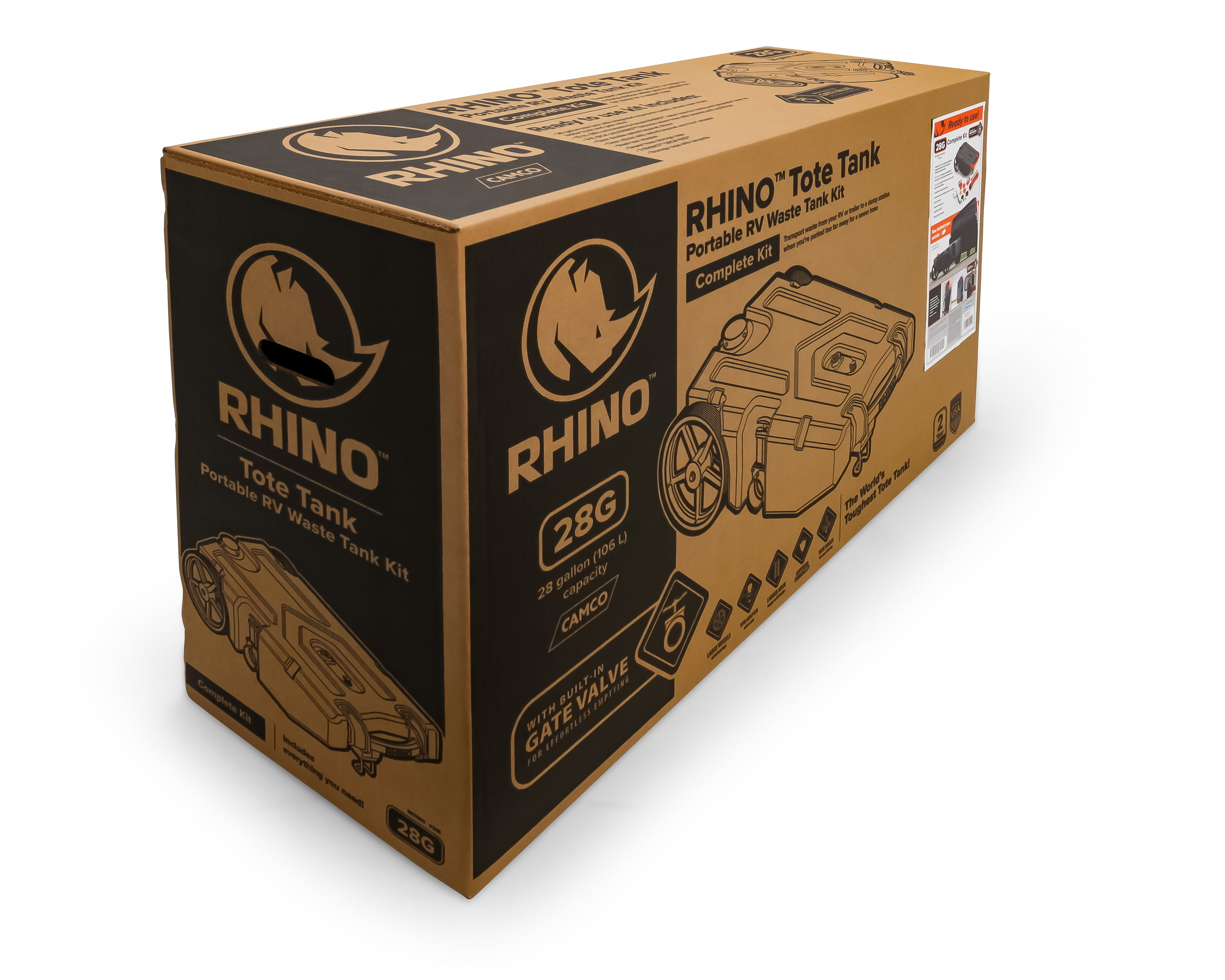 CAMCO 39004 Rhino Portable 28 Gallon RV Waste Tank Holding Hose and Accessories for sale online