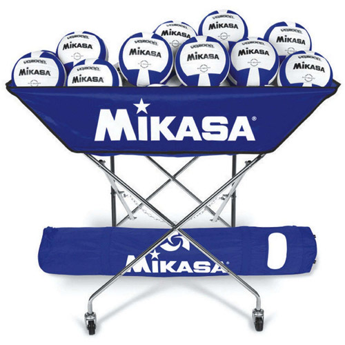 Mikasa VQ2000 Blue White Volleyballs with Cart Pack by S&S