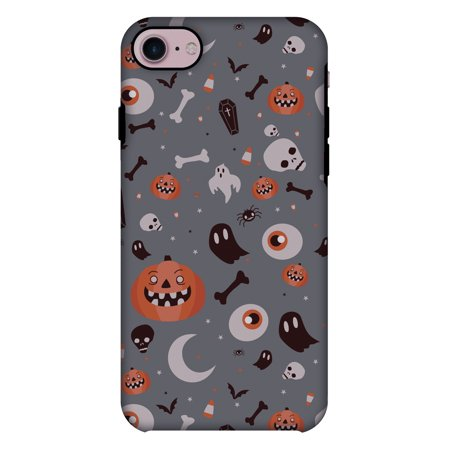 iPhone 7 Case, Premium 2 in 1 Slim Fit Handcrafted Printed Halloween Designer ShockProof Heavy Duty Protection Case Back Cover for Apple iPhone 7 - Freaky Grey](Halloween Wallpapers For Iphone 4)