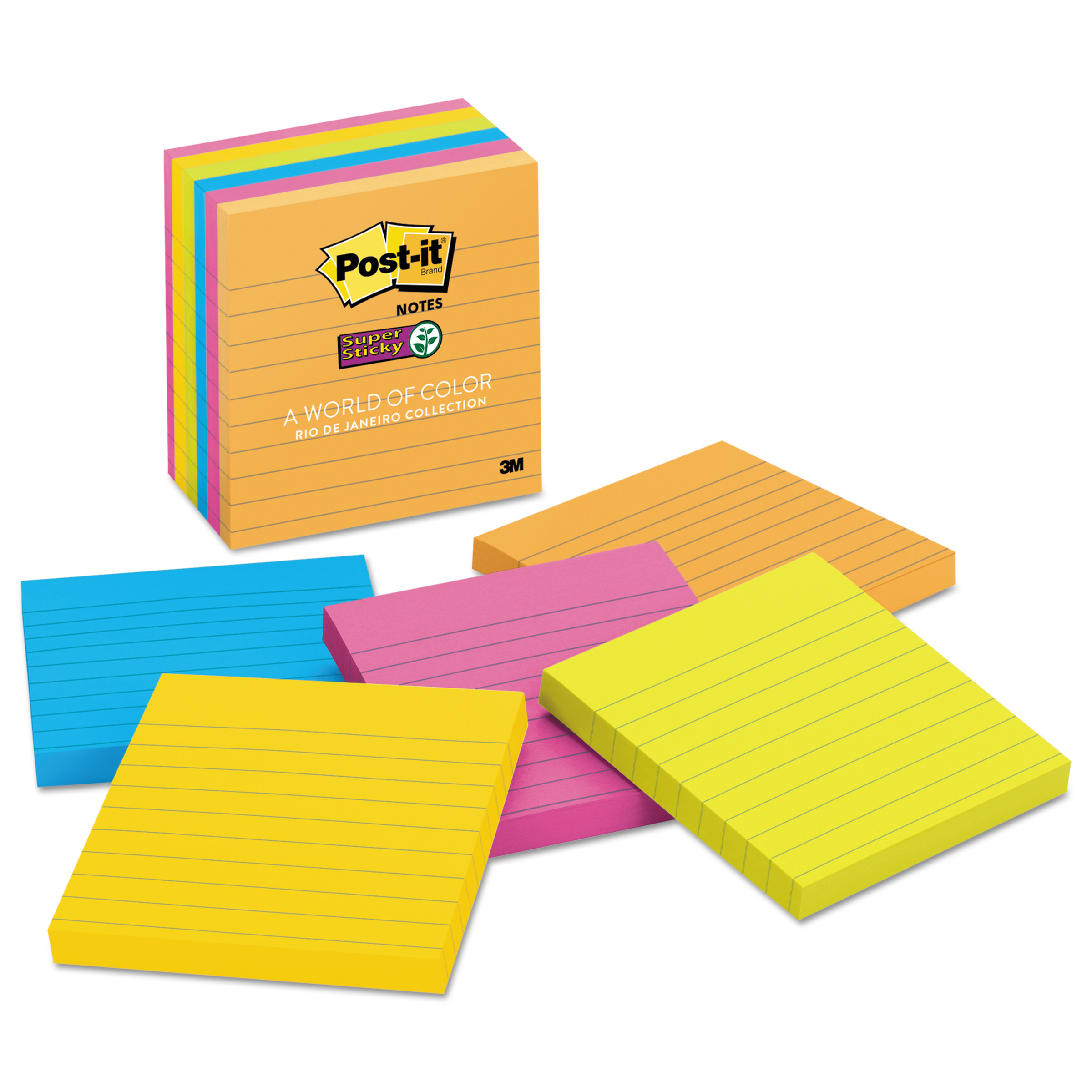 Post-it Super Sticky Lined Notes 6 Pack, Rio de Janeiro Collection, 4in x 4in