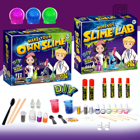 DIY Slime Kit Supplies Stuff   Safe Crystal Glitter Slime Making Kit with Borax Clay Glue Full Instruction for Kids Aged 6+