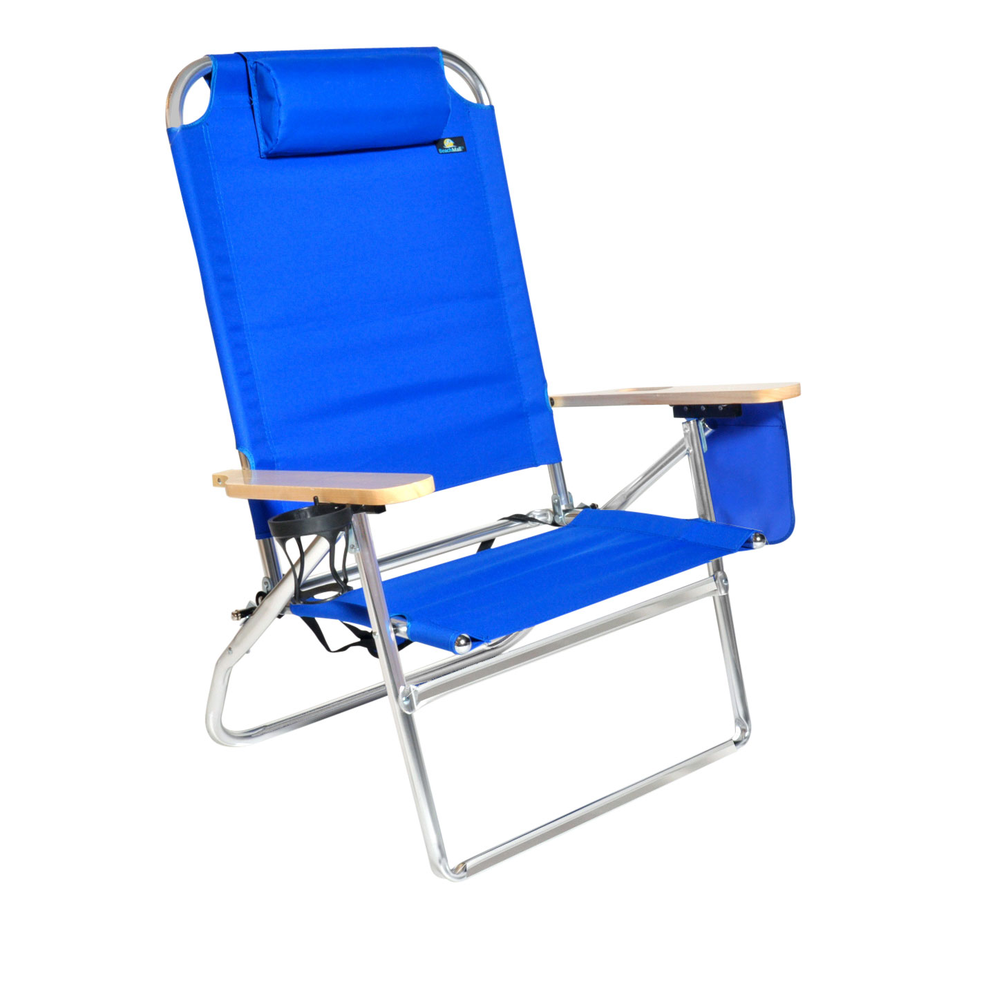 Extra Large - High Seat 3 Reclining Position Aluminum Heavy Duty Beach Chair with Cup Holder - 300 lbs Capacity