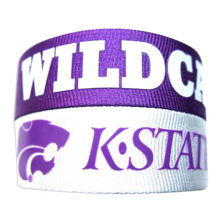 NCAA Kansas State Wildcats Sports Team Logo Slap Snap Wrap Wrist Band - Set of 2 - Snap Wristbands