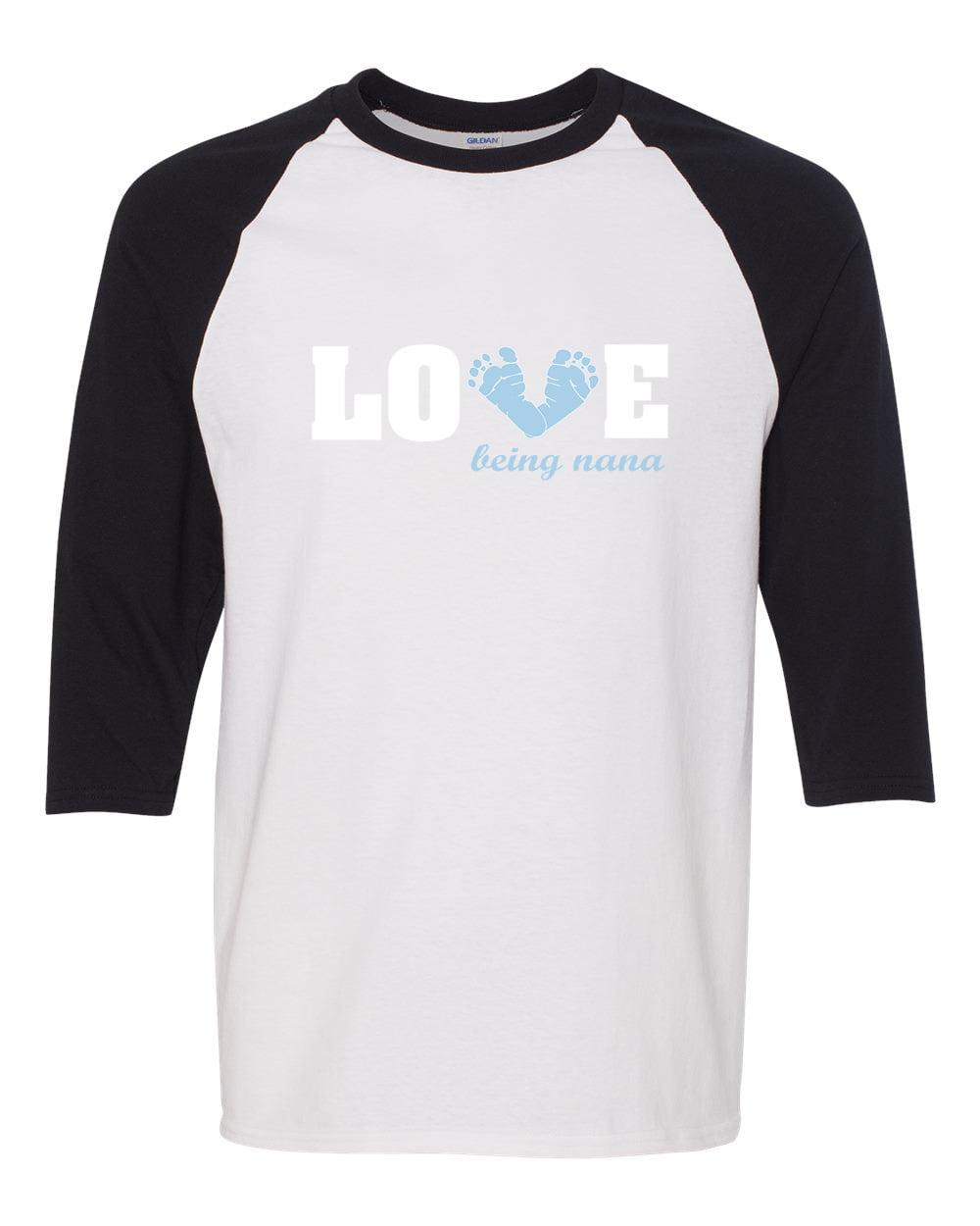 Love Being a Nana Baby Blue Feet 3/4 Raglan Sleeve T-Shirt
