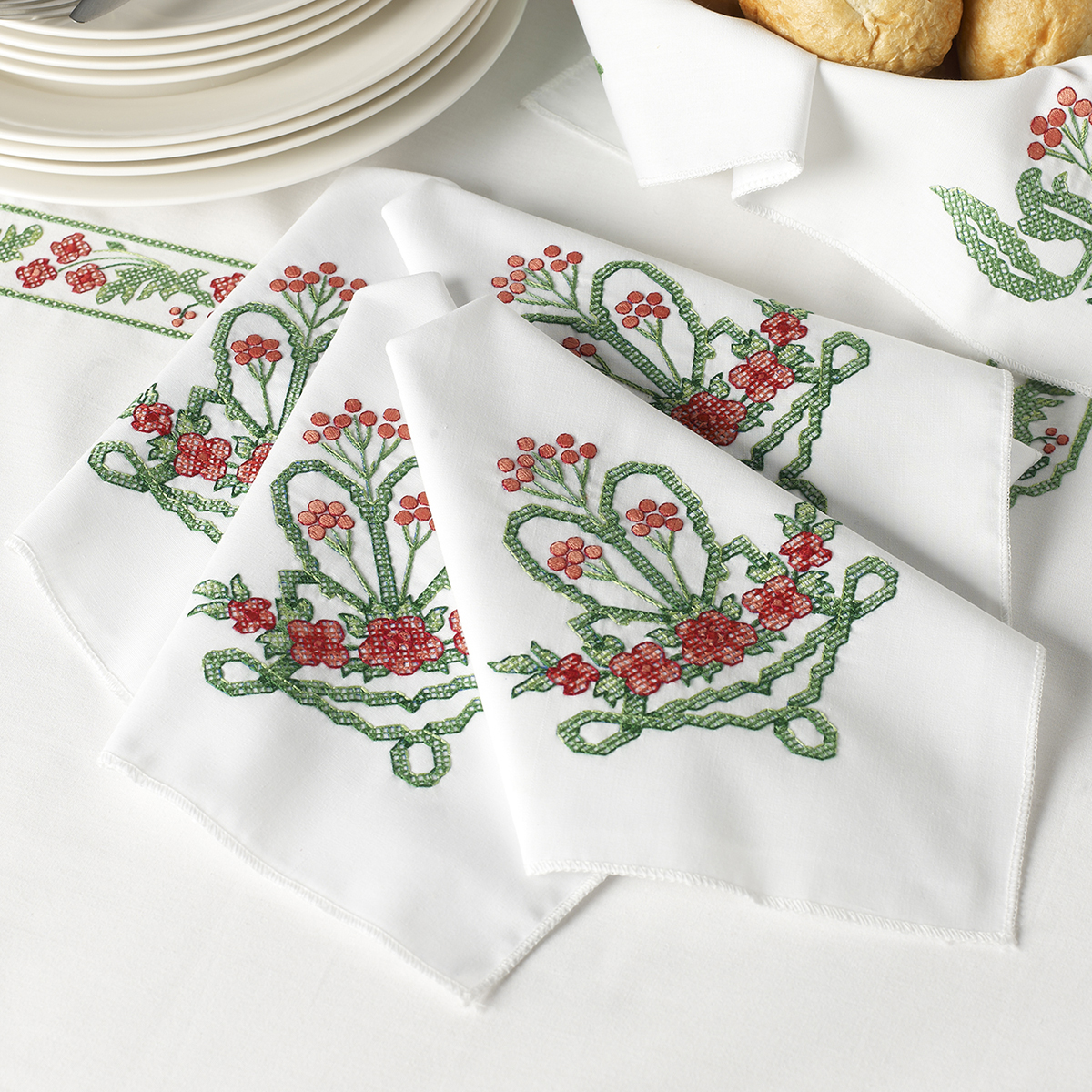 "Stamped Cross Stitch Napkins 16""X16"" Set Of 4-Victorian Frieze"