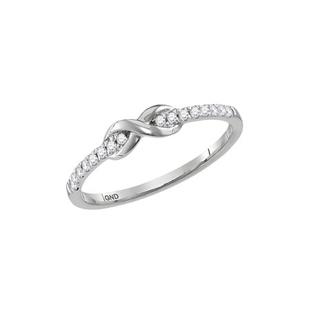 10kt White Gold Womens Round Diamond Infinity Knot Stackable Ring 1/10