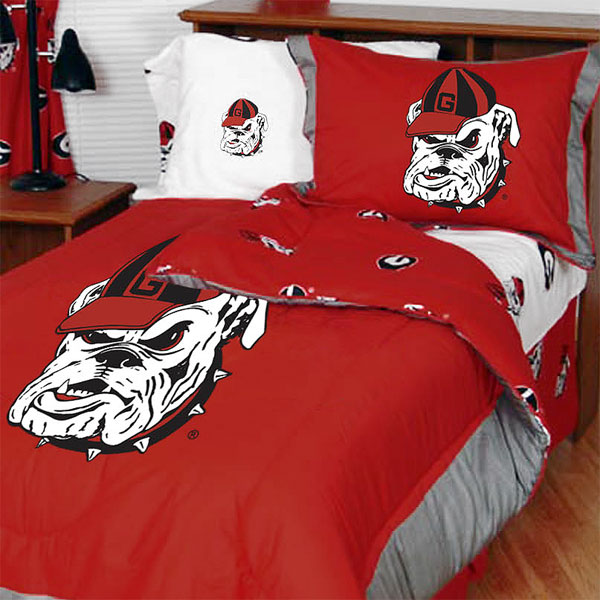 NCAA Georgia Bulldogs Bedding Set White Cotton Collegiate...