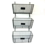 Hommoo Farmhouse Decor Metal Wire Food Organizer Storage Bin Baskets for Kitchen Cabinets, Pantry, Bathroom, Laundry Room, Closets, Garage - 3 Pack - Black