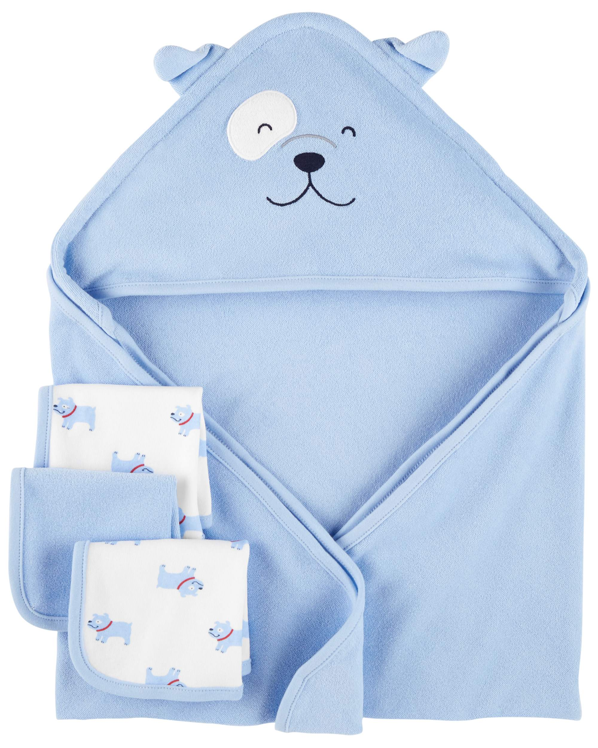 Child of Mine by Carter's Carter's Baby Hooded Towel & Washcloths Set, 4pc, Blue Dog