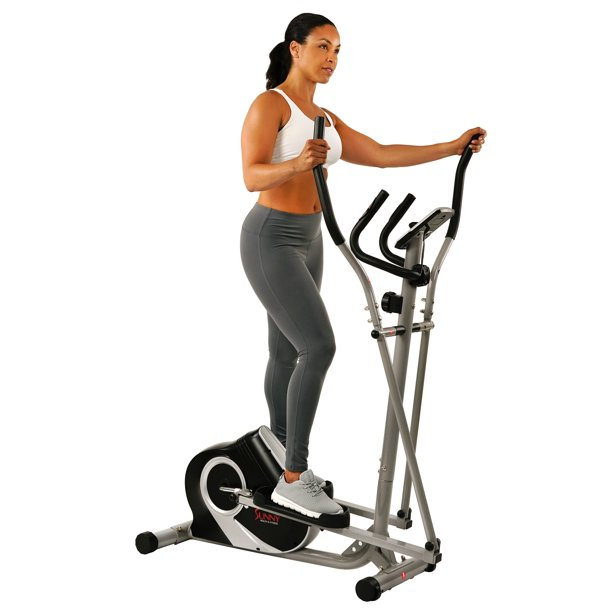 Sunny Health & Fitness Magnetic Elliptical Trainer with Tablet Holder, LCD and Pulse Monitor - SF-E3803