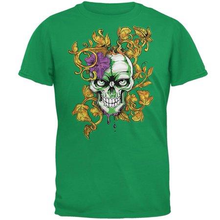 Mardi Gras Voodoo Zombie Skull Mens T Shirt