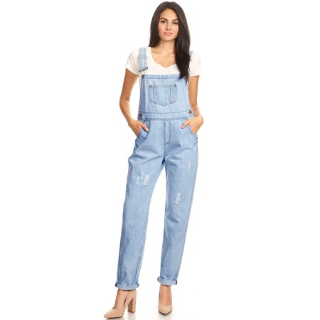 Casual Distressed Denim Overalls For Womens With Tapered Leg and Pockets
