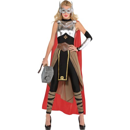 Suit Yourself Thor Costume for Adults, Includes a Jumpsuit with a Skirt, a Cape, a Mask, a Belt, and More - Silver Cape