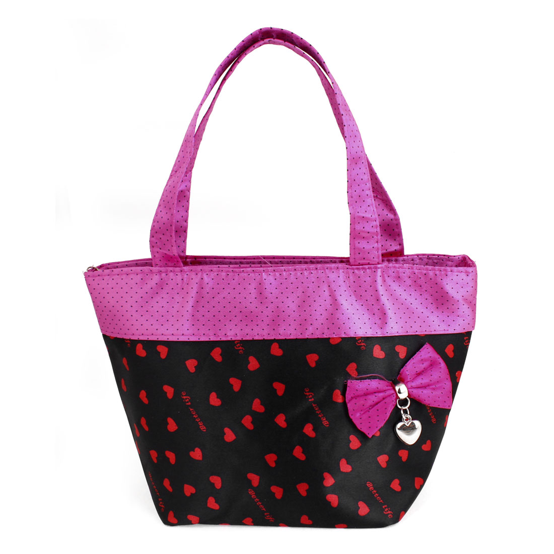 Pink Black Portable Bag Bowknot Detail Zip up Polyester Shopping Handbag