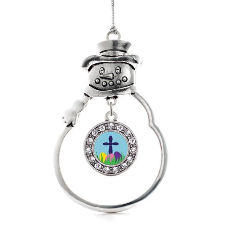 Easter Cross & Eggs Circle Snowman Holiday Ornament