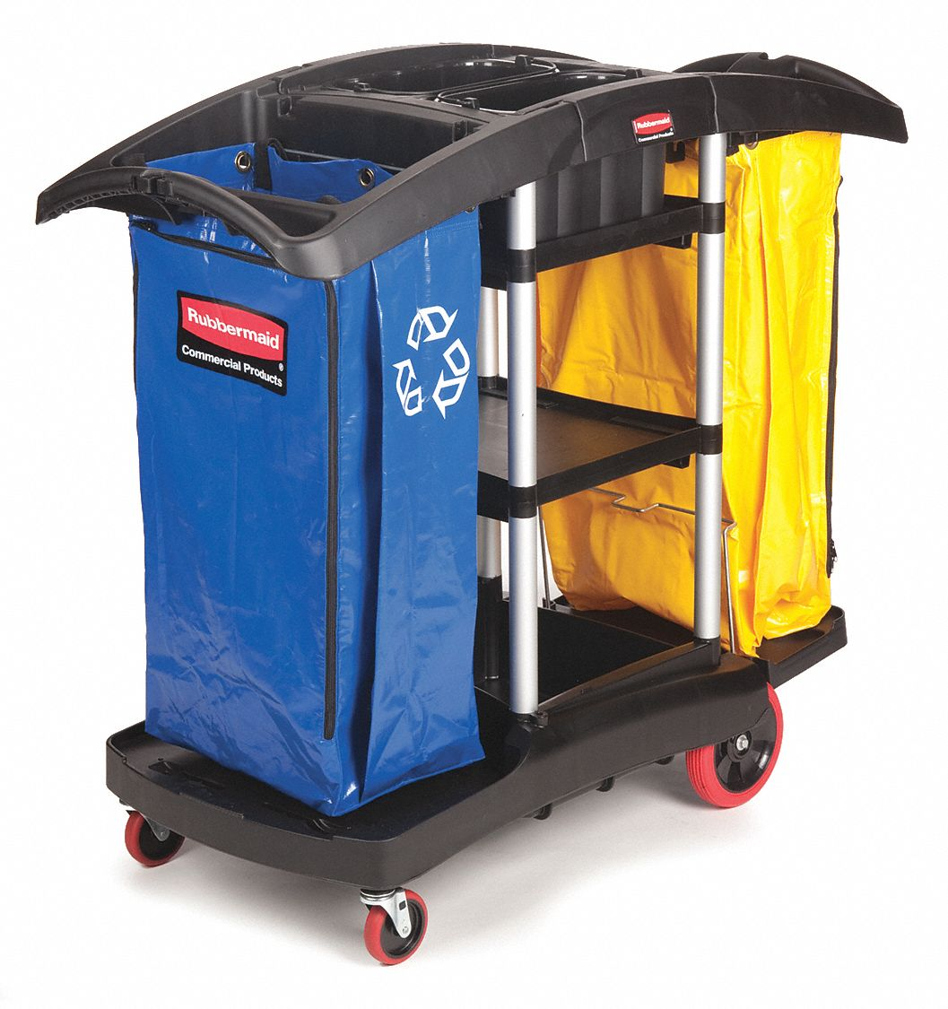 """Rubbermaid Black Janitor Cart, 49-3/4""""L x 21-3/4""""W x 44""""H, Number of Shelves: 3"""