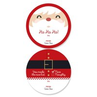Jolly Santa Claus - Large Christmas Party From: Santa Stickers Gift Tags - Set of 8