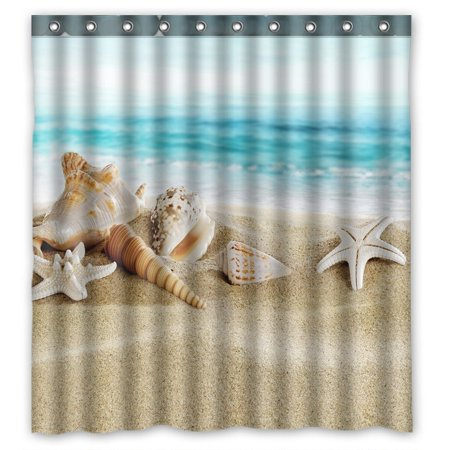 GCKG Seashell Starfish Soft Sand Blue Sea Waterproof Polyester Shower Curtain and Hooks Size 66x72 inches (Seashell Shower Curtain)