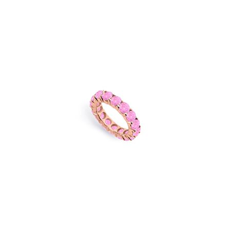 Created Pink Sapphire Eternity Ring Stackable Band 14K Rose Gold Vermeil. 10ct tgw - image 2 de 2
